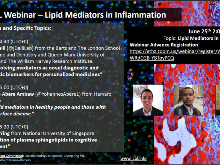 2nd ICBL Webinar – Lipid Mediators in Inflammation